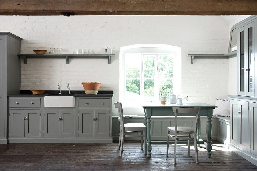 Wonderful Kitchen Design Using Gray Cabinet and Mounted Shelve also Dining Table Set