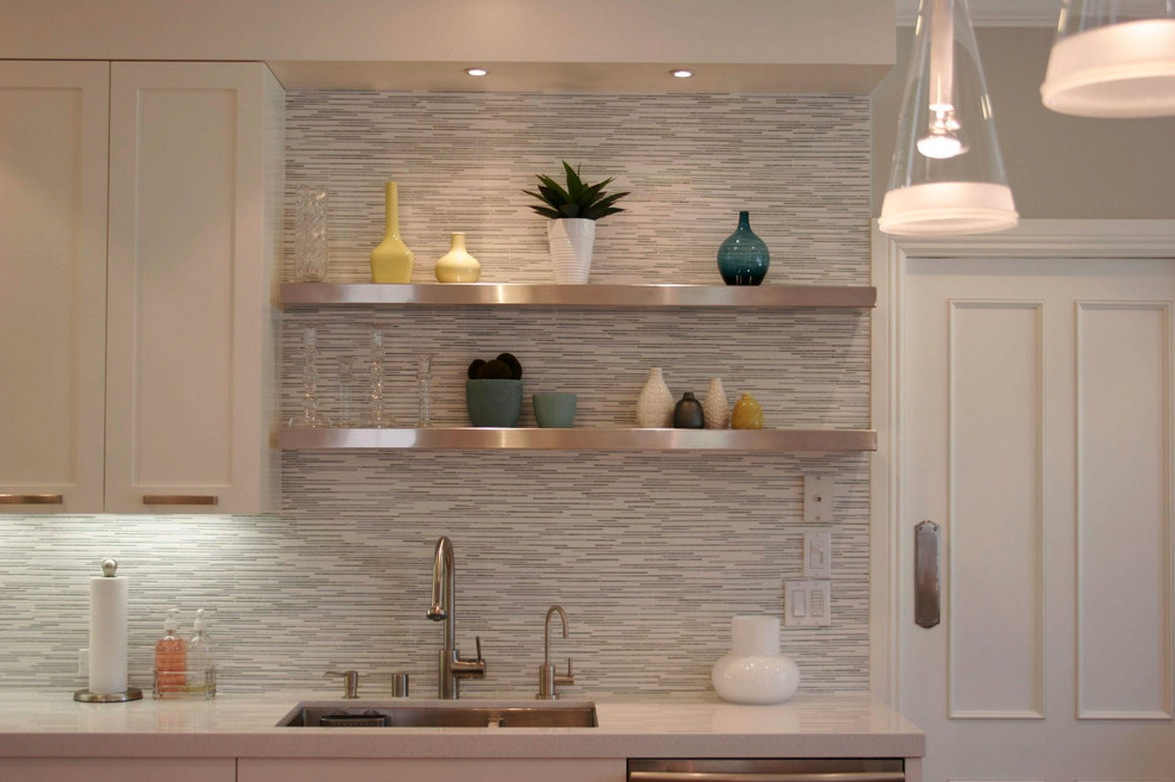 Wonderful Kitchen Using Mounted Shelves also White Backsplash and Glass Chandeliers