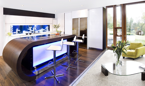 Wonderful Kitchen With Fish Tank also Bar Table and Chair