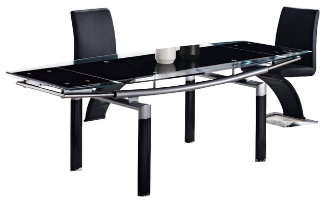 Wonderful Style of Dining Table With Black Tempered Glass Top