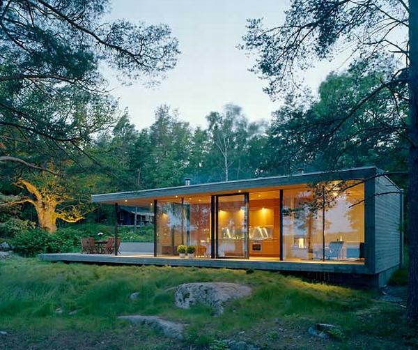 Wonderful Summer House With Visible Glass Wall also Besst Lighting Fixture