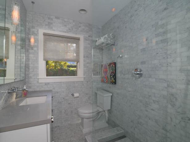 Wonderful Wall and Floor Design With Small Tile Plus Modern Cabinet