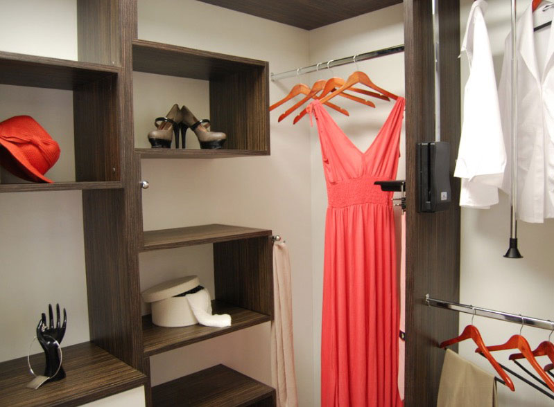 Wondrous Closet With Mounted Wooden Shelve also Metal Hanging Clothes