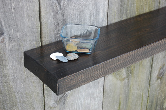 Wondrous Design Of Black Wooden Floating Shelves also Stones On Bowl