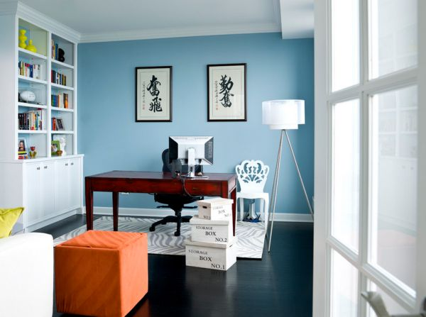 Wondrous Desk and Office Chair also Bookshelve plus Blue Wall Paint