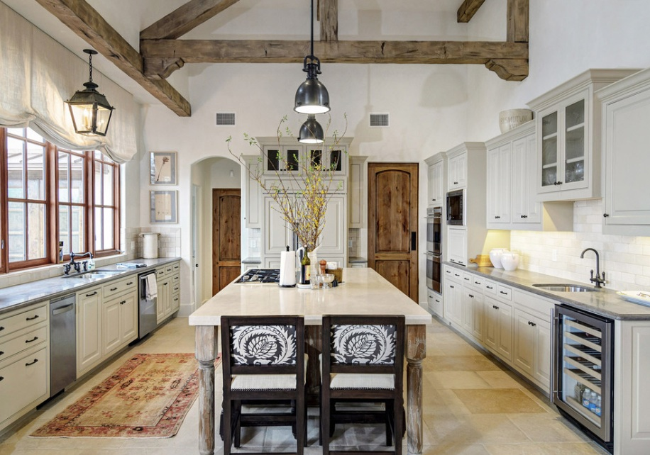 Wondrous Kitchen Design With Wooden Beam also Lush Table and Chairs