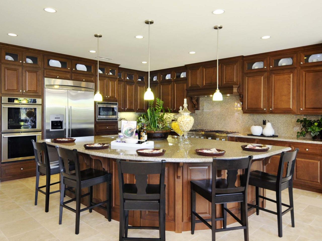 Amusing Design Of The Kitchen Areas With Bronw Wooden Cabinets Added With White Floor And Kitchen Island Ideas