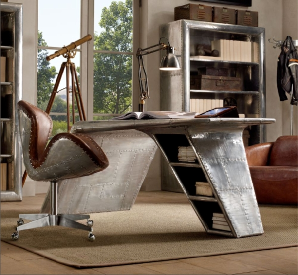 Angelic Home Office Using Airplane Wing Desk also Charming Chair