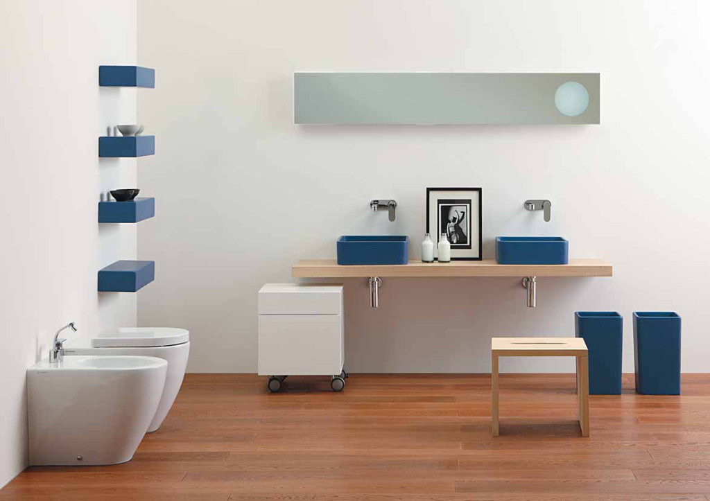 Appealing Bathroom Decoration Ideas Using Modern Blue and White Furniture