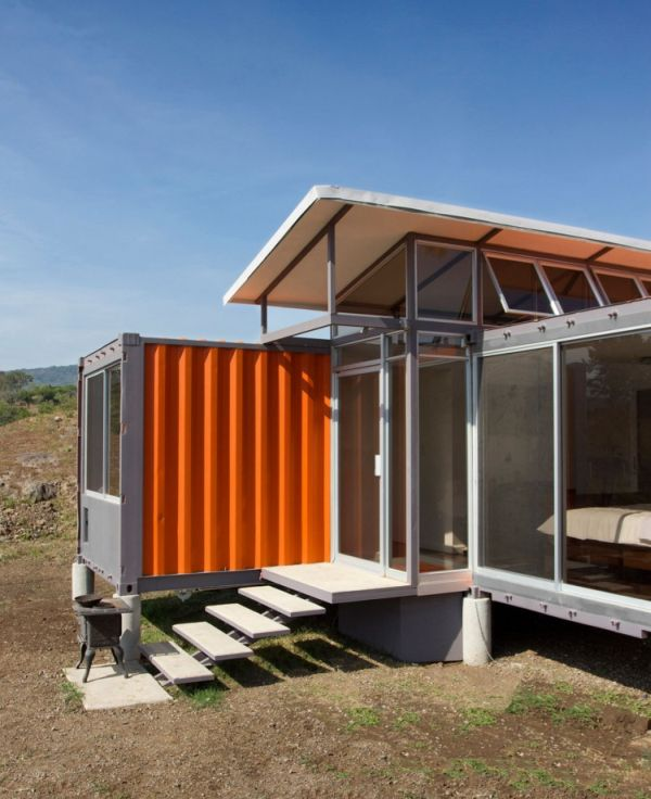 Attractive House Using Simple Shipping Container Garage also Visible Glass Door