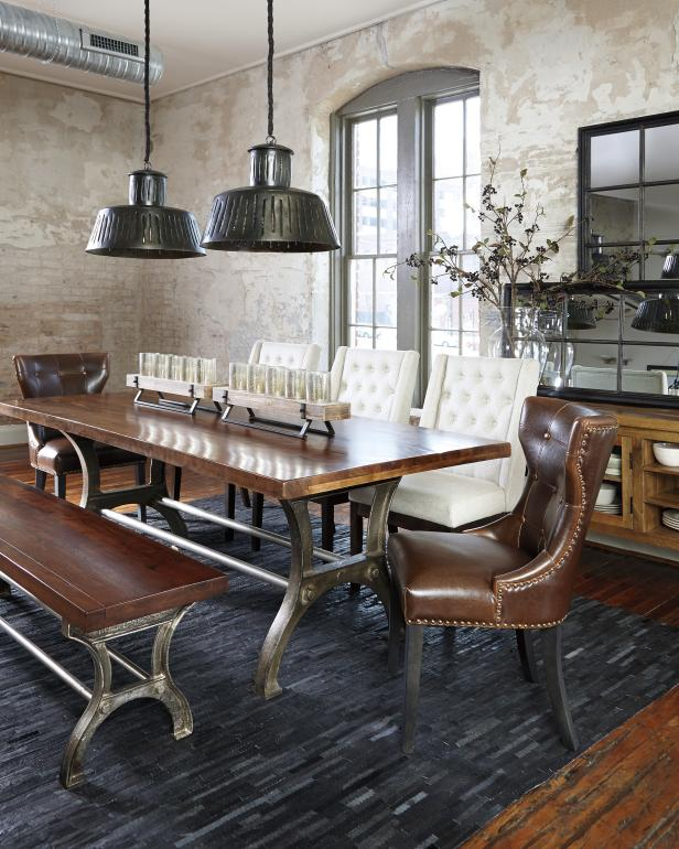Awesome Metal Top Dining Table Also Charming Chairs Plus Dark Pendant Lighting