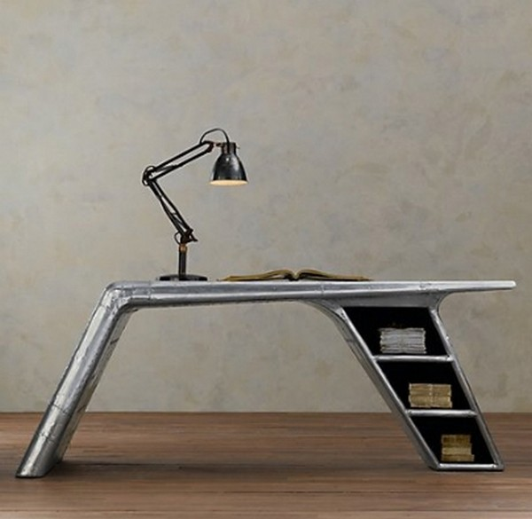 Awesome Style Of Airplace Wing Desk With Table Lamp and Book Shelve
