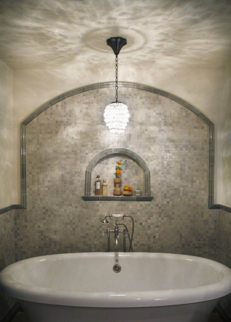 Beckoning Wall Design also Chandelier above Neat White Bathtub Decor