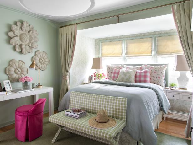 Brilliant Bedroom Design With Flowery Wall Decor also Study Table Set