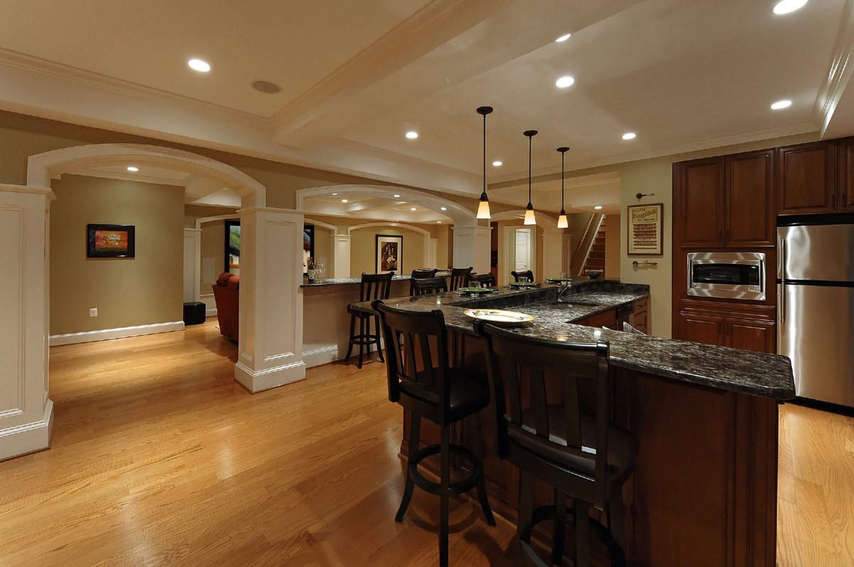 Brilliant Interior Basement Floor Ideas With Bar Table and Chairs also Pendant Lighting