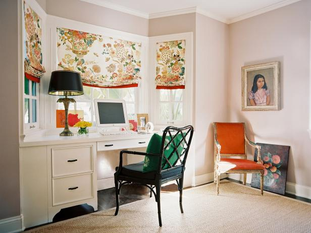 Captivating Diy Office Desk Beside Window Plus Dark Chair and Table Lamp