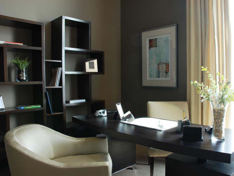 Captivating Home Office With Dark Desk and Book Shelvealso Charming Chair