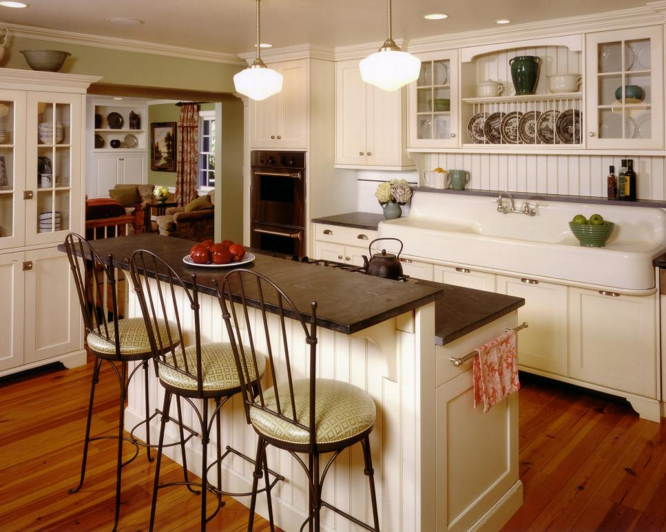Charmant Captivating Kitchen Country Cottage Decor With Cabinet Also Chair And Best  Lighting