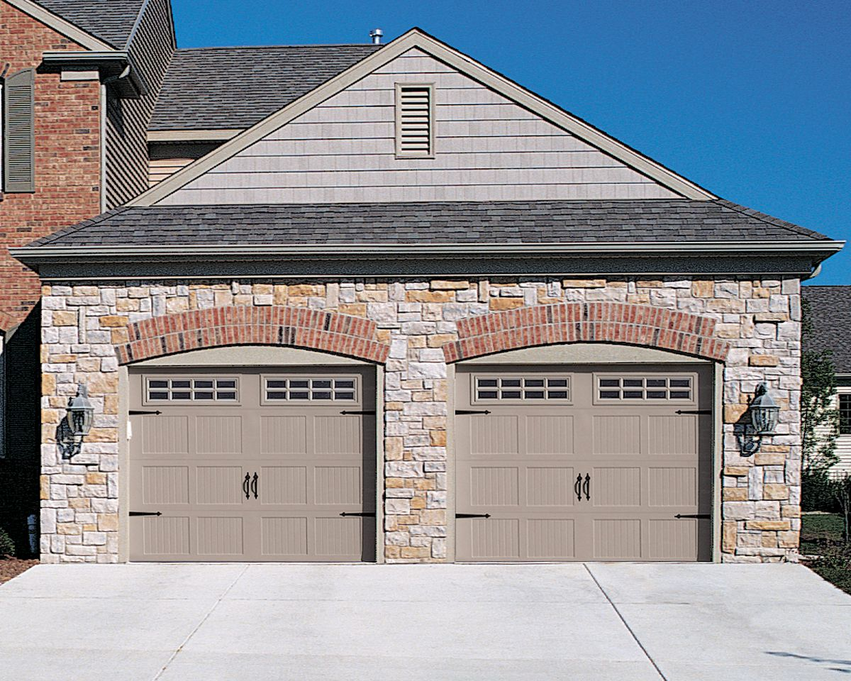 Captivating Stone and Brick Wall Design also Gray Garage Door