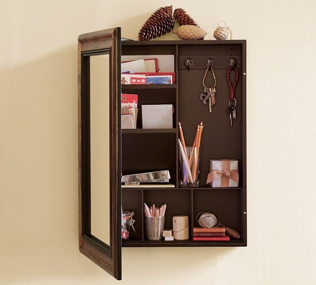 Bon Classy Mirror With Storage Of Wooden Material Attached On Wall