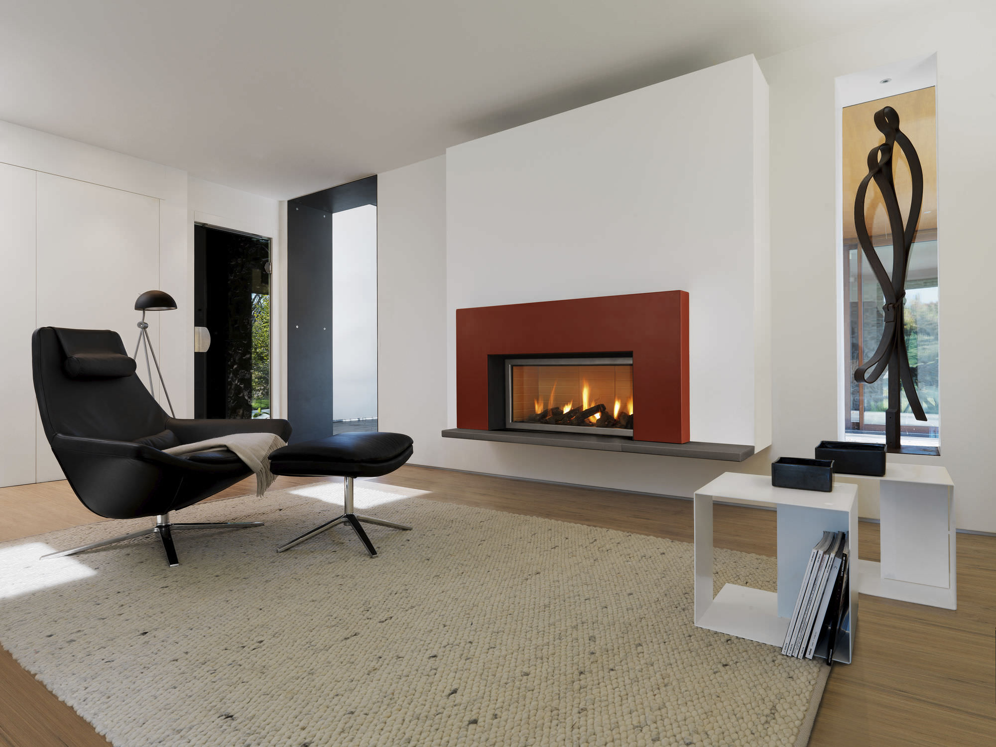 Contemporary Family Room With Cute Fireplace Mantel Ideas also Black Leather Chair