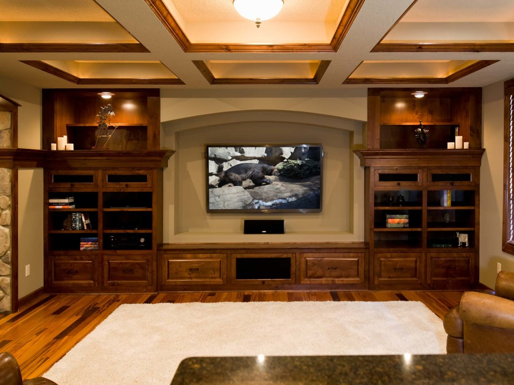 Cute Wooden Flooring also Natural TV Cabinet Plus Chandelier Basement Design
