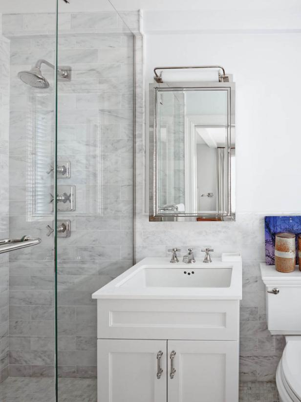 Dainty Interior Bathroom Using White  Marble Tile For Decorating Wall