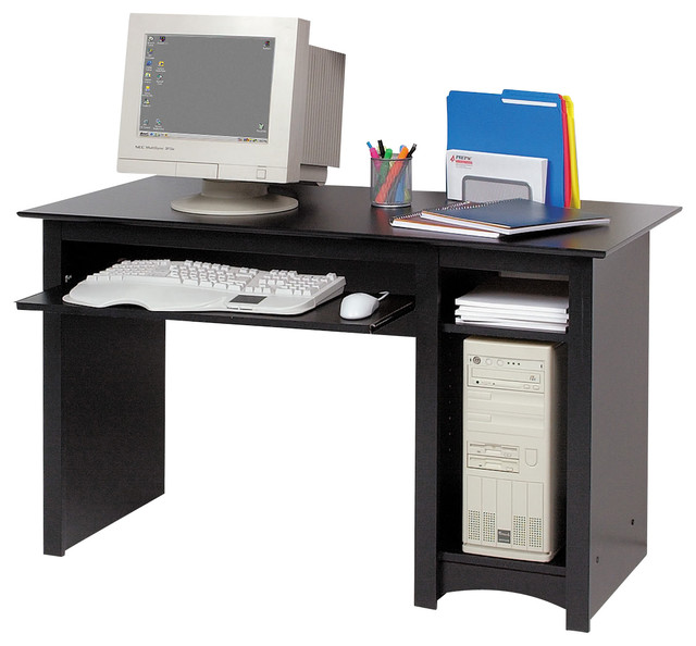 Delicate Desktop Computer Desk in Black Color With CPU STorage