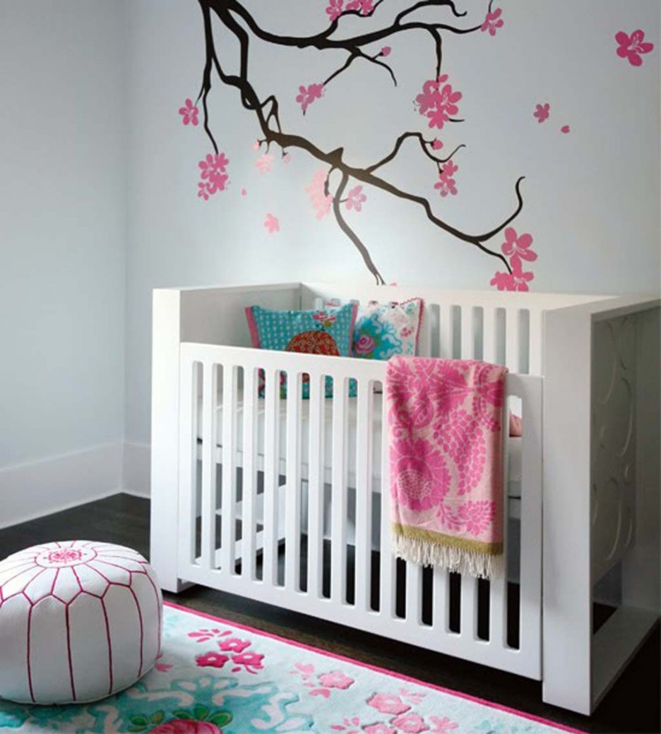 Delicate Girl Nursery Themes Style With Flowery Wall Design also Minimalist Crib