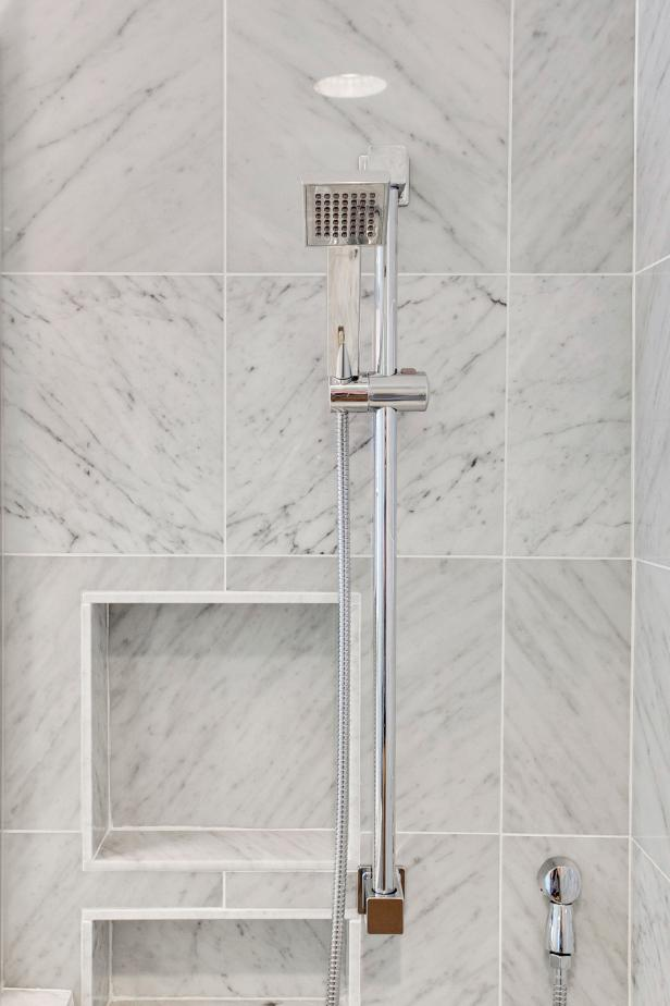 Delicate Showering Area Design Using White Marble Tile For Wall DEcor
