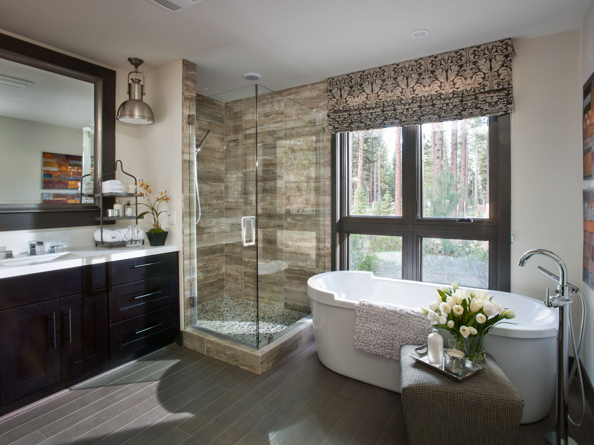 Delicate Visible Shower Area Beside Bathtub For Master Bathroom Designs