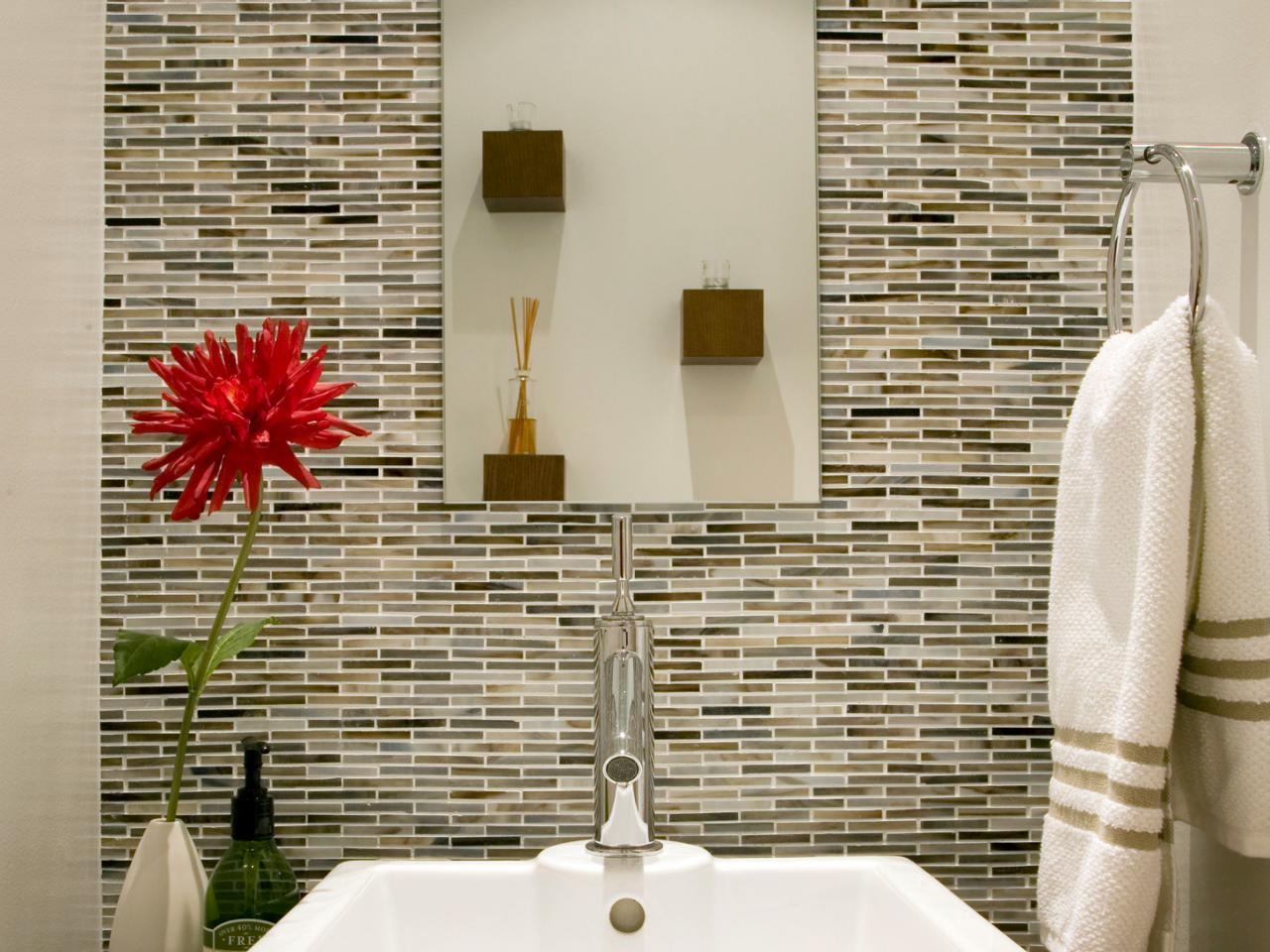 Delightful Bathroom Decor With Magnificent Backsplash also Mirror