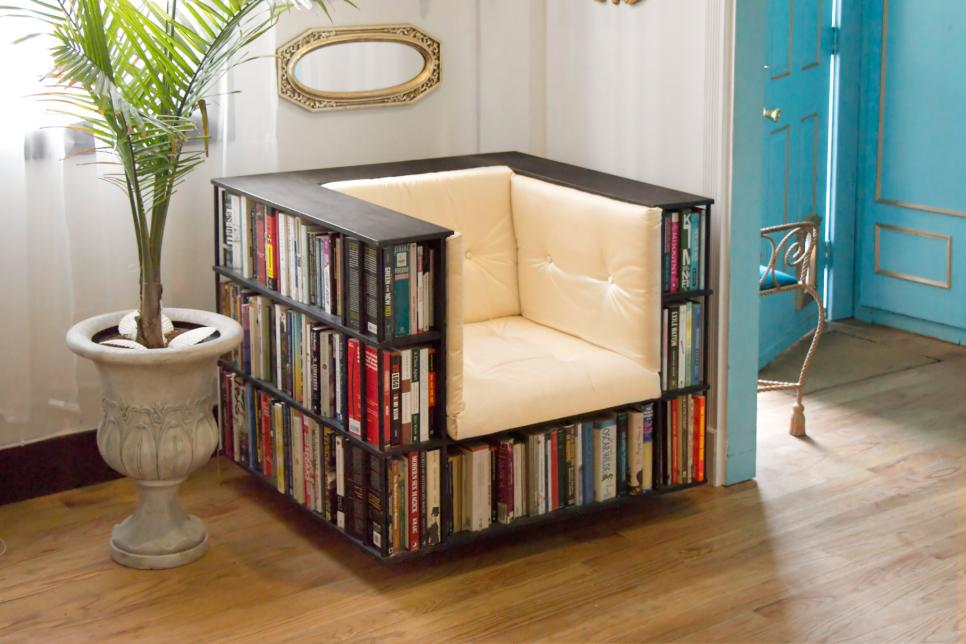 Delightful Concept Of Chair Design Using Charming Seat and Back With Book Storage Ideas