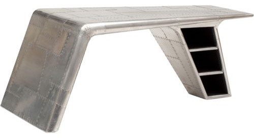 Ecletic Design Of Desk Of Airplane Wing With Book Shelve