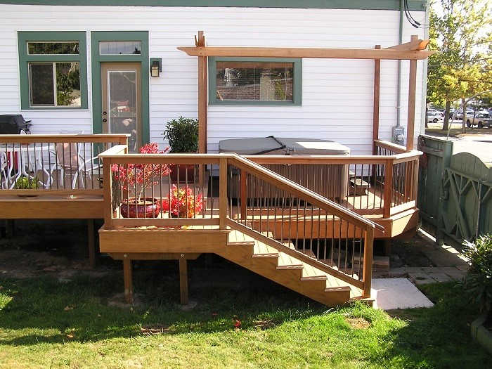 Elegant Deck with Wooden Floor also Rail plus Furniture as Backyard Decor