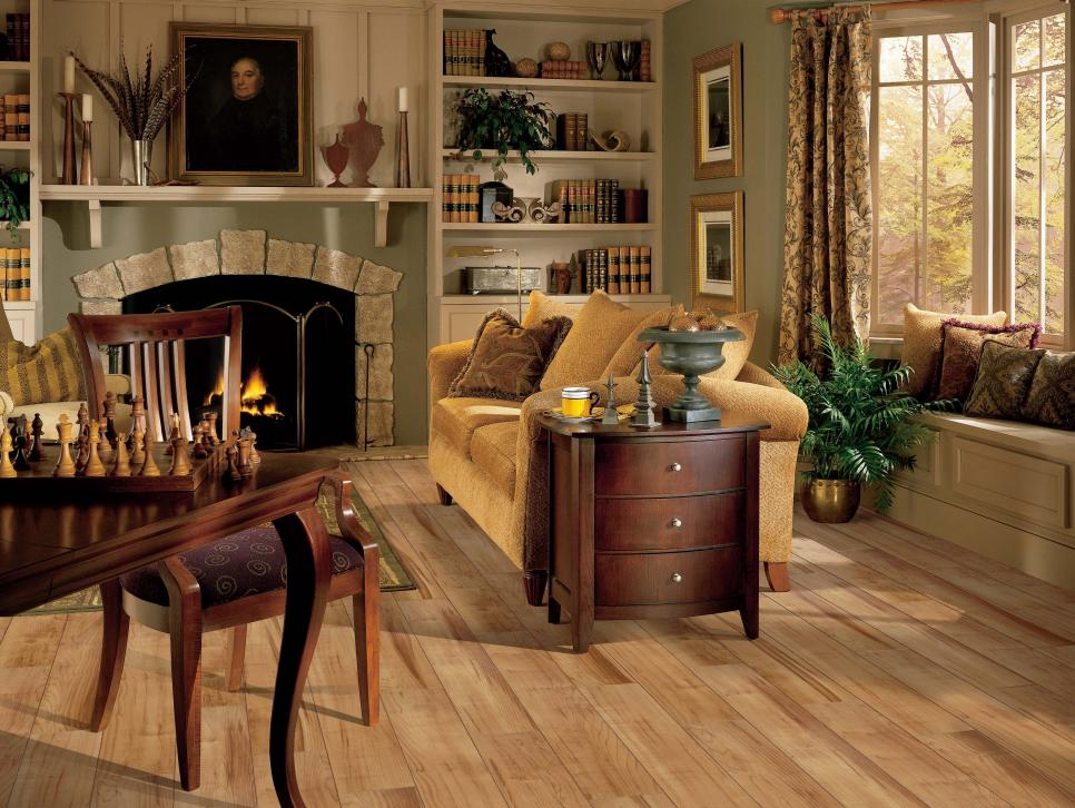 Fabulous Living Space Using Wood Flooring Options also Sofa Plus Fireplace