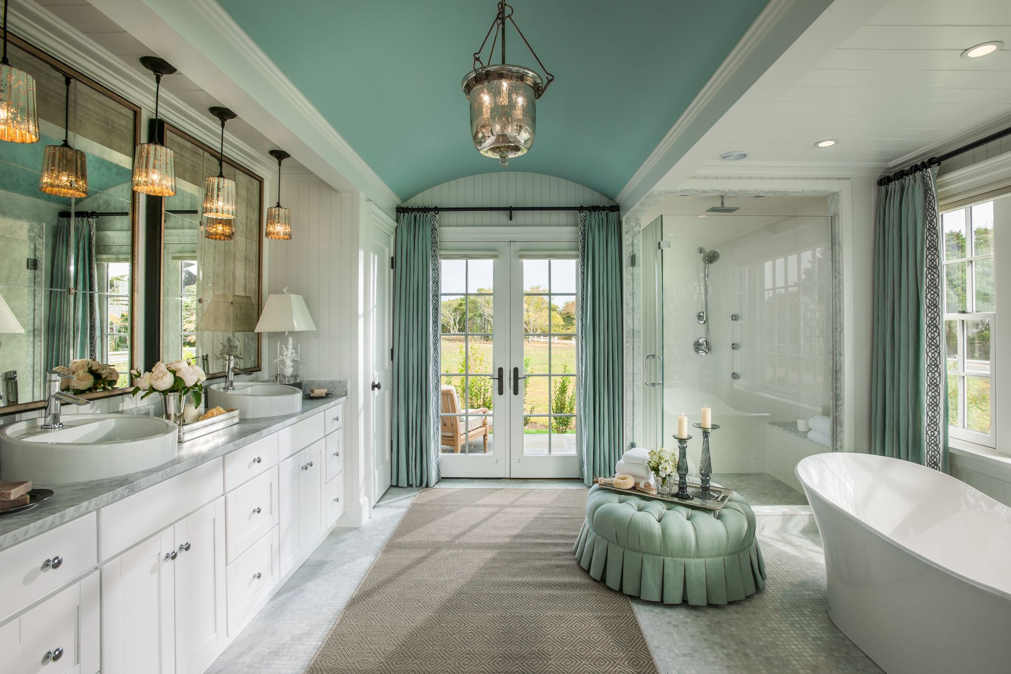 Fancy Cabinet Under Pendant Lighting For Good Master Bathroom Designs