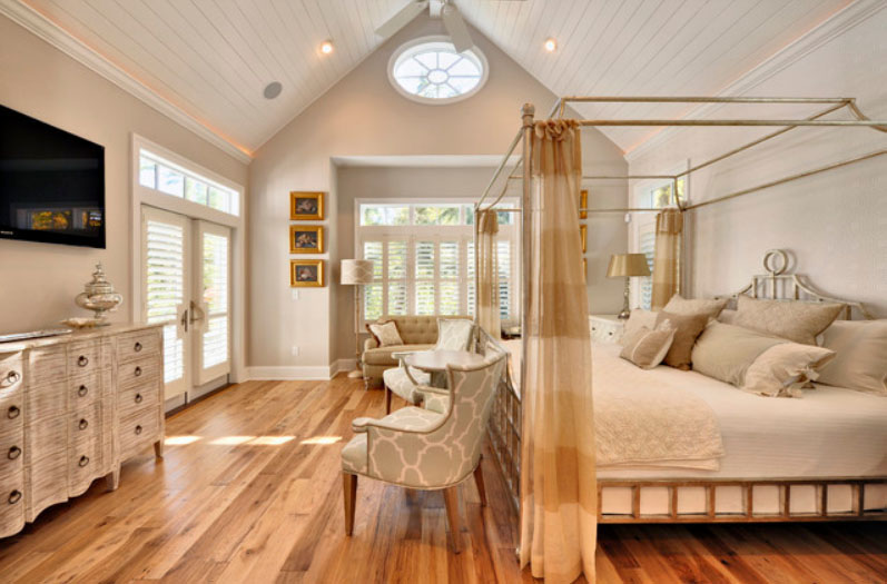 Fancy Interior Bedroom Using Chairs also Iron Canopy Bed