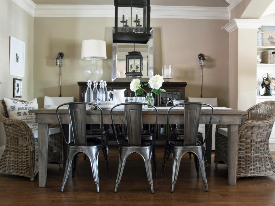 Fantastic Interior Dining Room With Table also Rattan and Silver Chairs