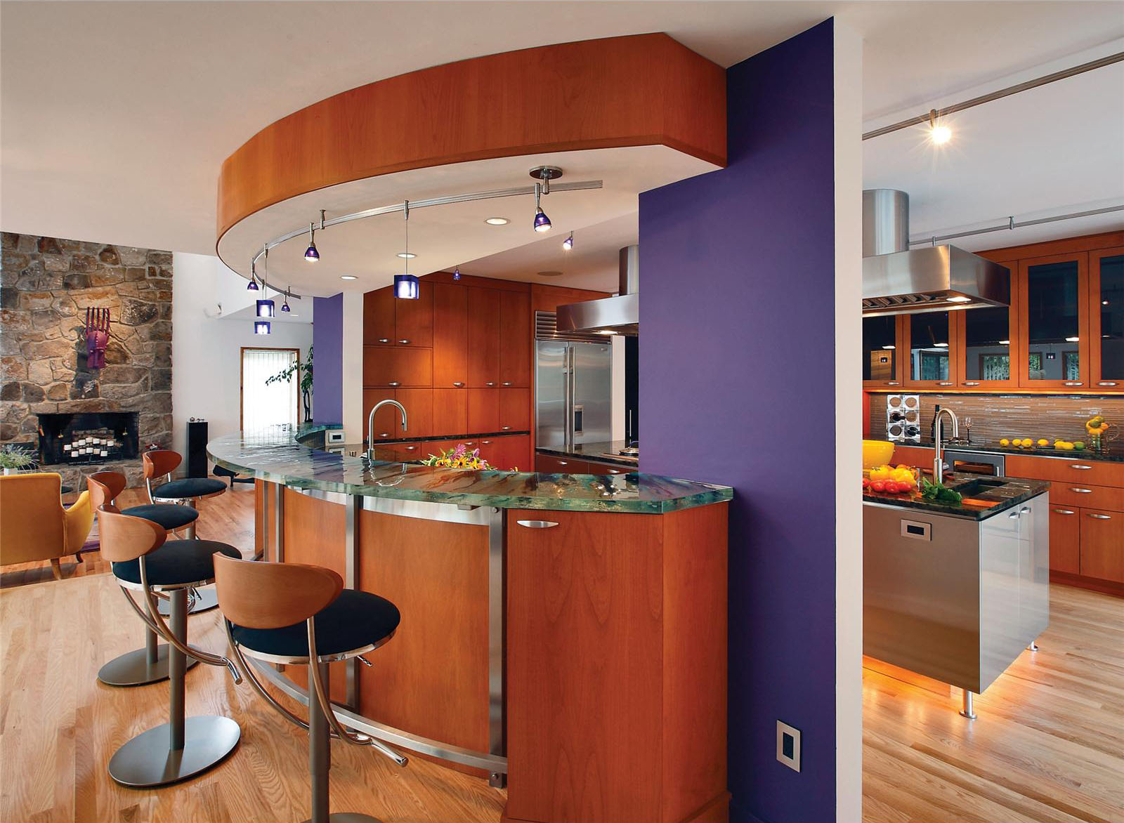 Fantastic Kitchen Counter Decor With Modern Bar Table and Chairs also Track Lamp