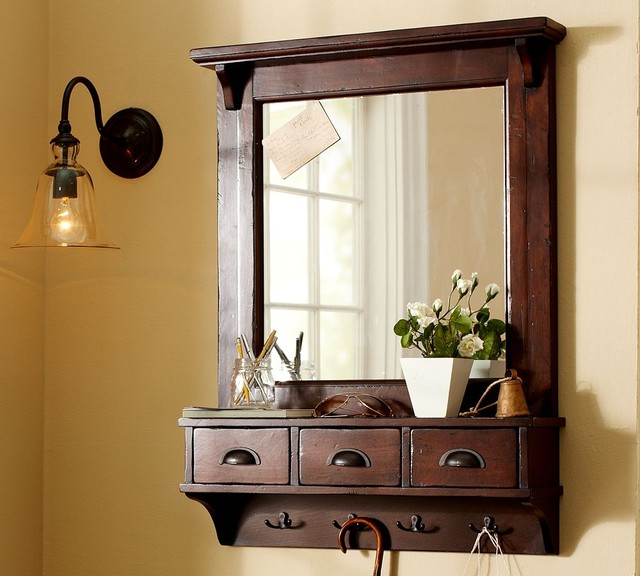 Fantastic Wall Lamp Beside Mirror With Drawers Also Dark Hook