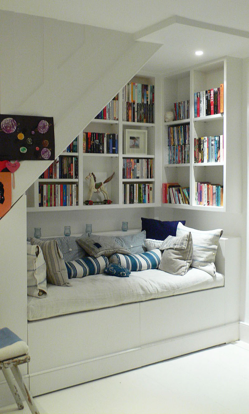 Good DEcor Under Stairs Storage With Reading Bench and Book Sheleve