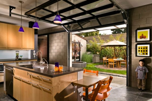 Gorgeous Interior Shipping Container House With Modern Cabinat and Purple Lighting