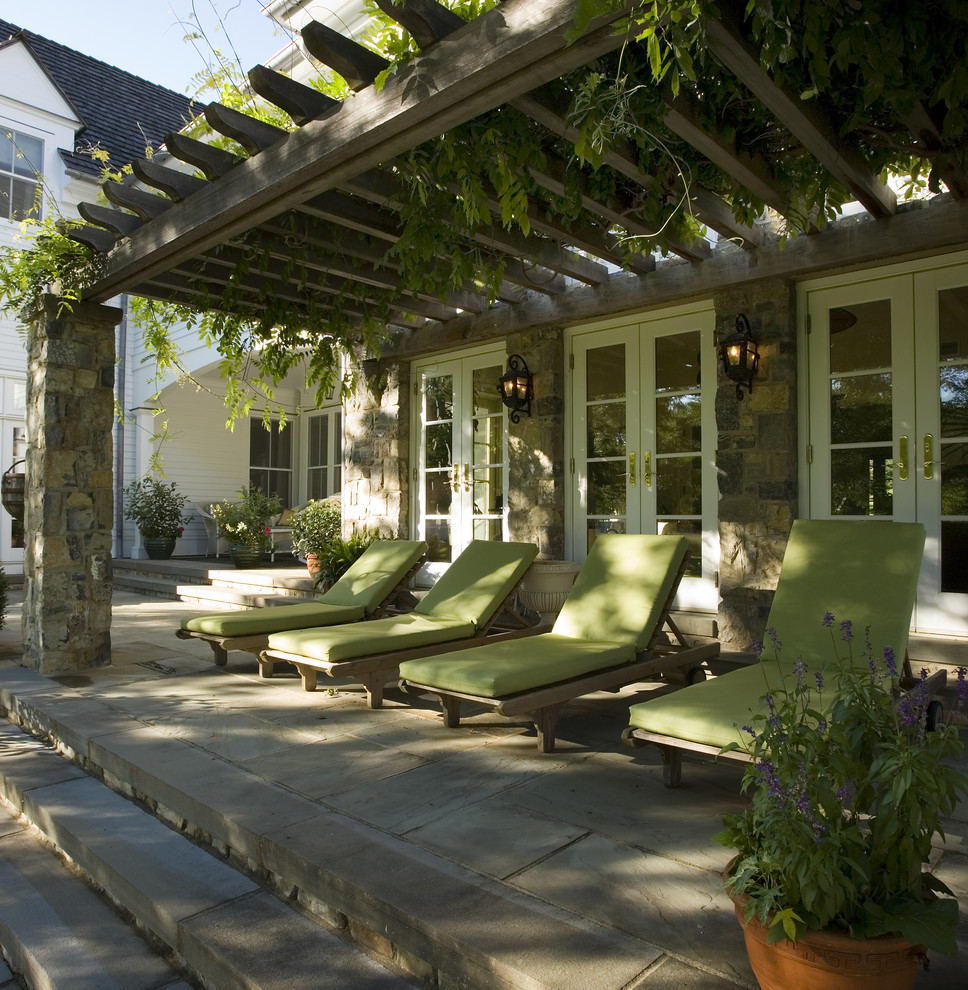 Gorgeous Pergola with Long Beach Chairs also Good Roof Top of Backyard