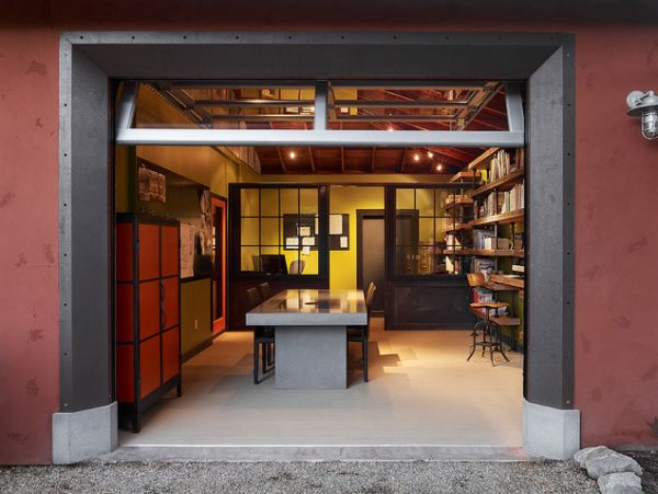 Graceful Container House With Dining Table Set also Book Shelve