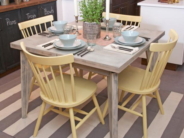 Grand Dining Room Using Square Wooden Table and Yellow Chairs