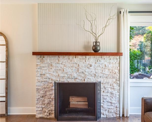 Handsome Design Of Stone Fireplace Mantel also Brown Wooden Shelve