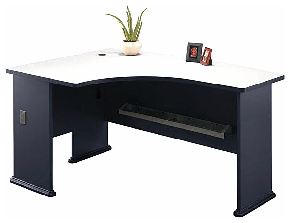 Horrible Desk Design For Desktop Computer Using Curve Top and Dark Legs
