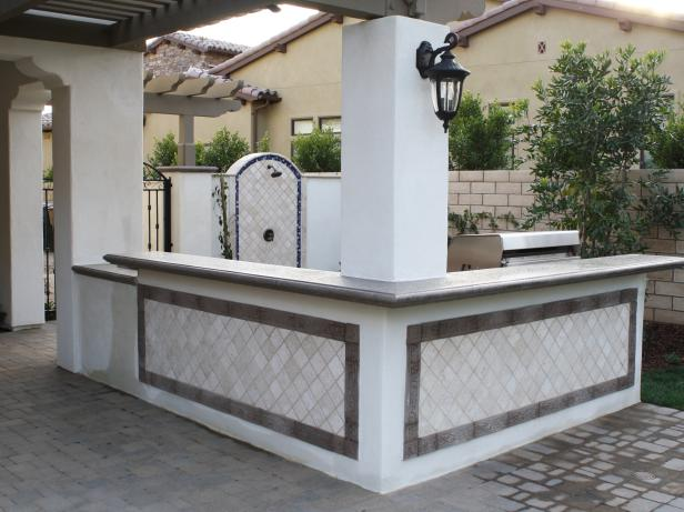 Hunky Outdoor Decoration Ideas Using L Shaped Bar also Concrete Floor