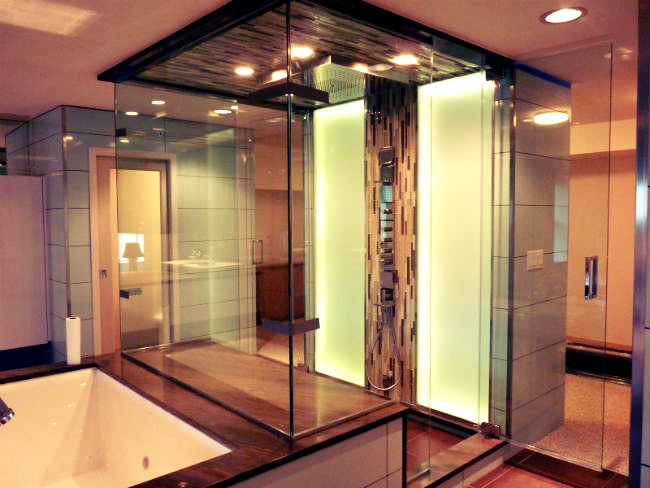 Hunky Shower Remodel Ideas With Visible Glass Door also Good Lighting